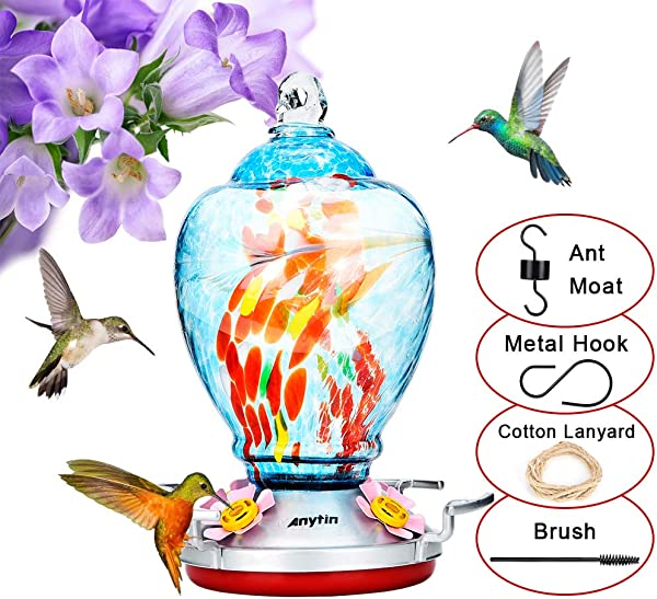 Anytin Hummingbird Feeder For Outdoors With 2 Anti Leak Rings Bee Guard And Ant Guard Hand Blown Glass Humming Bird Feeders For Outside