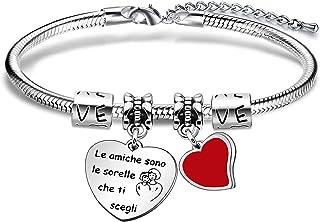 """Angelra Regali di Amicizia Braccialetto Donna Bracciale Amici""""le amiche sono le sorelle che ti scegli"""" Ciondolo Argento co..."""