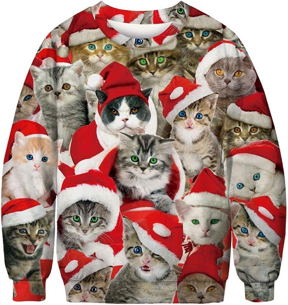Pizoff Unisex Hip Hop Sweatshirts mit Bunt 3D Weihnachten Christmas Digital Printing Druckmuster