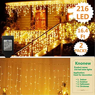 KNONEW ( 2PCs LED Icicle Lights, 216 LEDs, 16.4ft, 8 Modes, String Fairy Light, LED String Light for Wedding Party/Christmas/Halloween/Party Backdrops (Warm White)