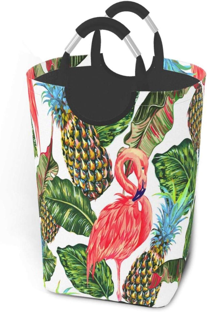 Wozukia Pink Flamingos Houston Ranking TOP9 Mall Laundry Basket Birds with Exotic Handles