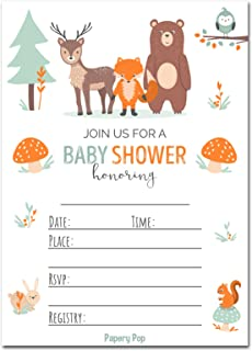 image relating to Free Printable Woodland Baby Shower Invitations named : woodland pets little one shower invites