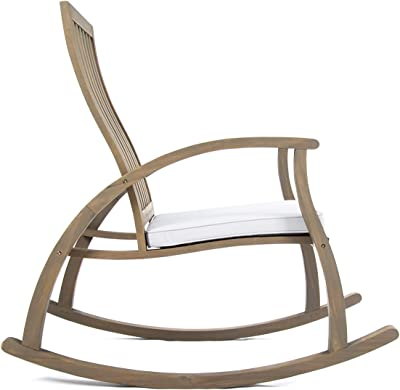 Christopher Knight Home Cayo Outdoor Acacia Wood Rocking Chair with Water Resistant Cushion, Grey Finish / Grey