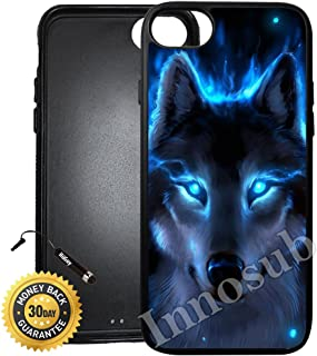 Custom iPhone 8 Case (The Blue Wolf) Edge-to-Edge Rubber Black Cover with Shock and Scratch Protection | Lightweight, Ultra-Slim | Includes Stylus Pen by INNOSUB