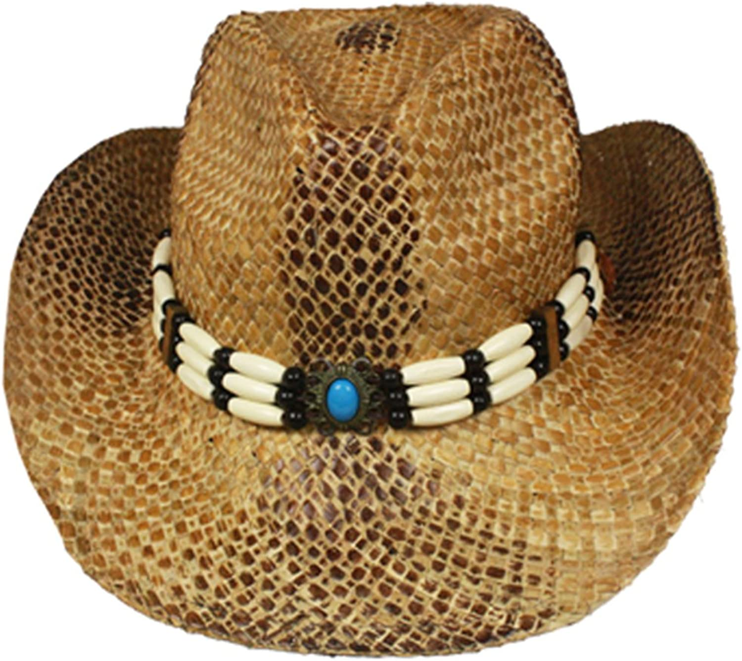 Silver Fever Fashionable Ombre Woven Straw Cowboy Hat with Cutouts and Beads