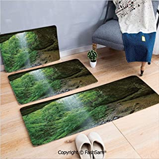 3 Piece Fashion Flannel Door Mat Carpet Canyon Michigan Caves Memorial Falls in The Forest Eco Foliage Picture for Door Rugs Living Room(W15.7xL23.6 by W19.6xL31.5 by W15.7xL39.4)