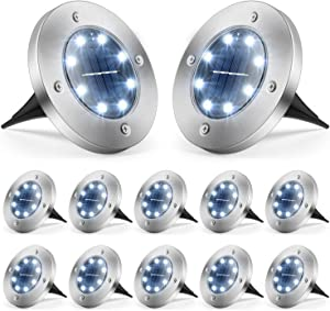 Solar Ground Lights, Solar Lights Outdoor Waterproof LED Solar Garden Lights In-Ground Lights Disk Lights for Patio Lawn Yard Landscape Pathway Walkway (White, 12 Packs)