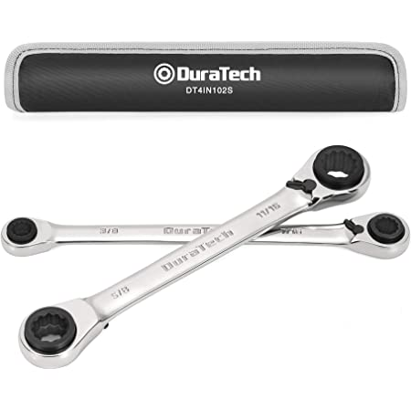 DuraTech 4 in 1 Reversible Ratcheting Wrench Set SAE, 2-piece Double Box End Wrench, 12 PT, with Rolling Pouch, Cr-V, Mirror Polished Chrome Plated(5/16, 3/8, 7/16, 1/2 & 9/16, 5/8, 11/16, 3/4-Inch)