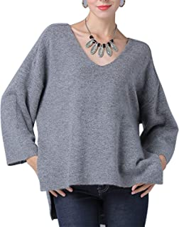 Solid Color Long Sleeve V-Neck Pullover Jumper Women's (Color : Grey, Size : One Size)