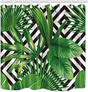 NYMB Jungle Plant Tropical Palm Leaves on The Black White Geometric Background Bath Curtain, Polyester Fabric Waterproof Shower Curtains, 69X70 in, Shower Curtain Hooks Included, Green