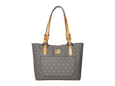 Dooney & Bourke Blakely Small Tammy Tote (Slate/Butterscotch Trim) Tote Handbags