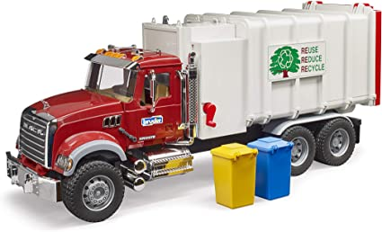 1//16th MACK Granite Side Loading Garbage Truck by Bruder 02811