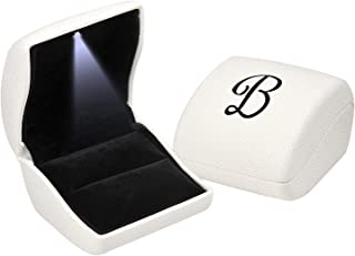 Andrew Family White Monogram Jewelry Gift Boxes Case with LED Light for Ring Earrings Pendant, Initial- B