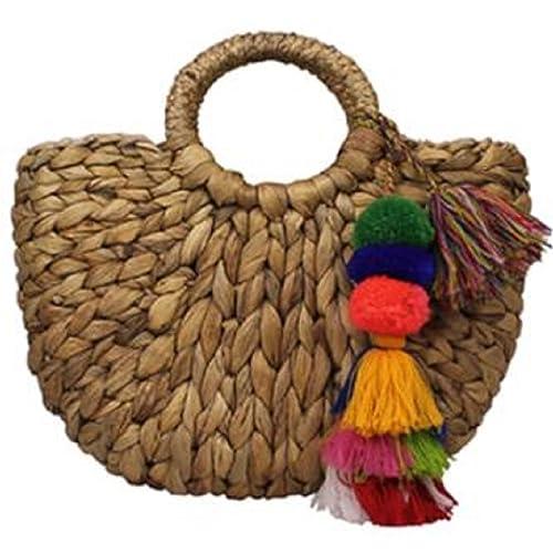 Lush Leather Handmade Mini Rattan Straw with Pom Poms Basket Tote Bag