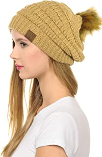 C.C Hat-43 Thick Warm Cap Hat Skully Faux Fur Pom Pom Cable Knit Beanie