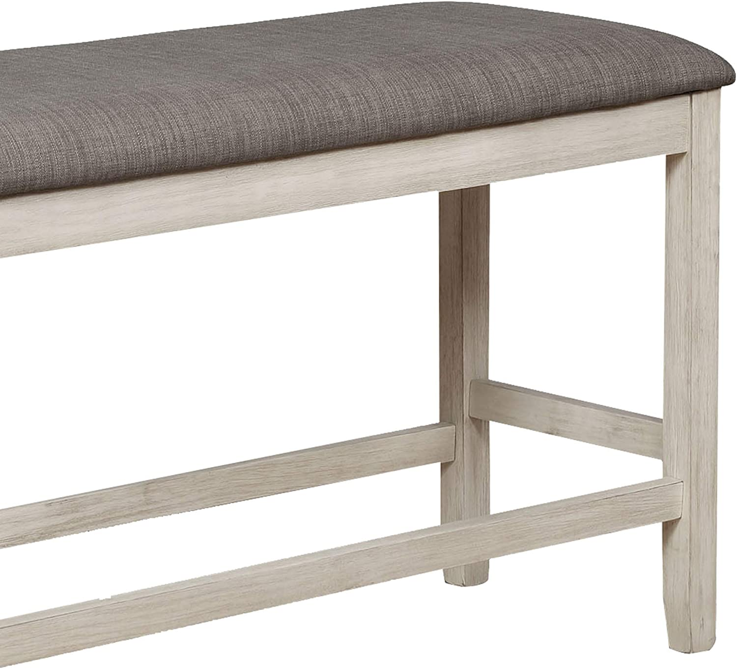 Benjara Counter Height Bench with Fabric Upholstered Seat Beige and Black
