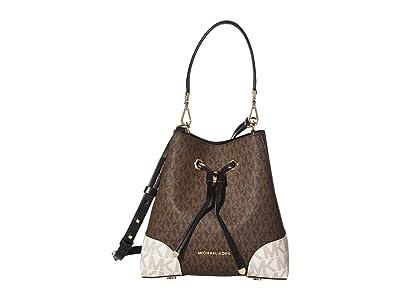 MICHAEL Michael Kors Mercer Gallery Small Convertible Bucket Shoulder (Brown Multi) Handbags