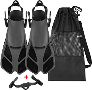 Oumers Snorkel Fins, Travel Size Adjustable Strap Diving Flippers with Mesh Bag and Extra Buckle Connector for Men Women S...