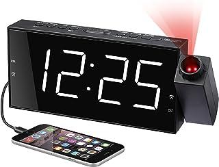 Projektionsugare för sovrum, digital väckarklocka med stor LED-display och dimmer, 180° projektor, USB-laddare, 12/24 H, s...