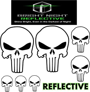 Punisher skull decal set, white reflective (Two 2.25 x 3.25 plus 5 more!) for helmets motorcycles cars guns iphone ipad tumbler phone tablet jeep truck car window