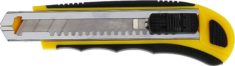 Tramontina 43390308, Estilete Retrátil 6, Corpo Dupla Injeção, 8 Laminas de Aço Especial, Botão Trava da Lamina, Amarelo