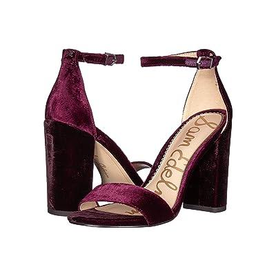 Sam Edelman Yaro Ankle Strap Sandal Heel (Rasberry Wine Velvet) Women