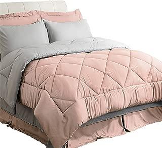 Bedsure Queen Size Bed in A Bag, Pink/Light Grey - Soft Microfiber, Reversible Bed Comforter Set 8 Pieces (1 Comforter, 2 Pillow Shams, 1 Flat Sheet, 1 Fitted Sheet, 1 Bed Skirt, 2 Pillowcases)