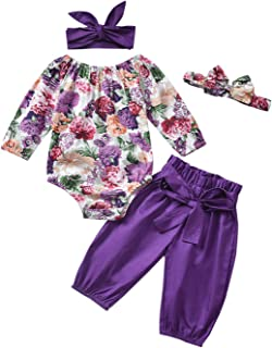 Toddler Infant Baby Girls Floral Print Romper Bodysuit High Waist Lace Pants Headband Outfit Set