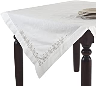 SARO LIFESTYLE 608 1-Piece Chinese Square Tablecloth, 40-Inch, Ivory