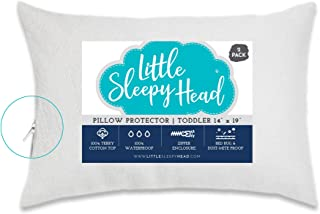 Little Sleepy Head Toddler/Travel Pillow Protectors for Pillows 13x18 and 14x19 (2-Pack)