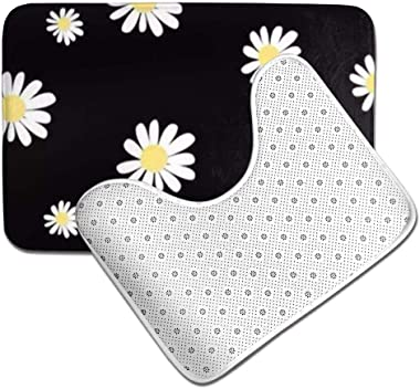 HRHT White Daisy 2 Piece Bathroom Rug Set, Non Slip Bath Mats and Contour Bath Rug Combo
