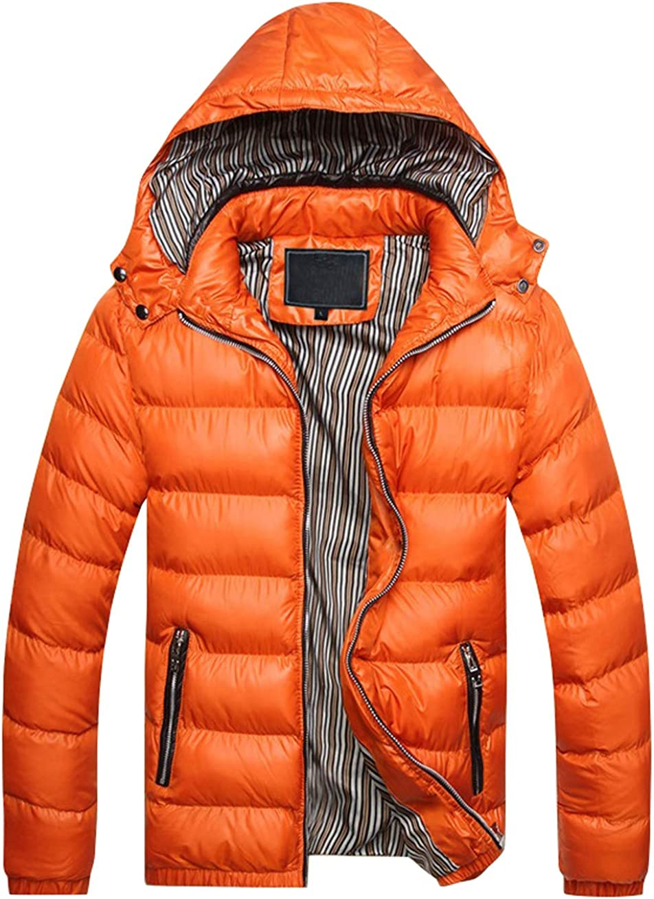 CHARTOU Men's Detachable Hooded Chevron Quilted Down Alternative Puffer Coat