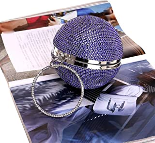 Redland Art Women's Fashion Sparkly Round Mini Clutch Bag Wristlet Evening Handbag Purse Catching Bag for Wedding Party (Color : Blue)