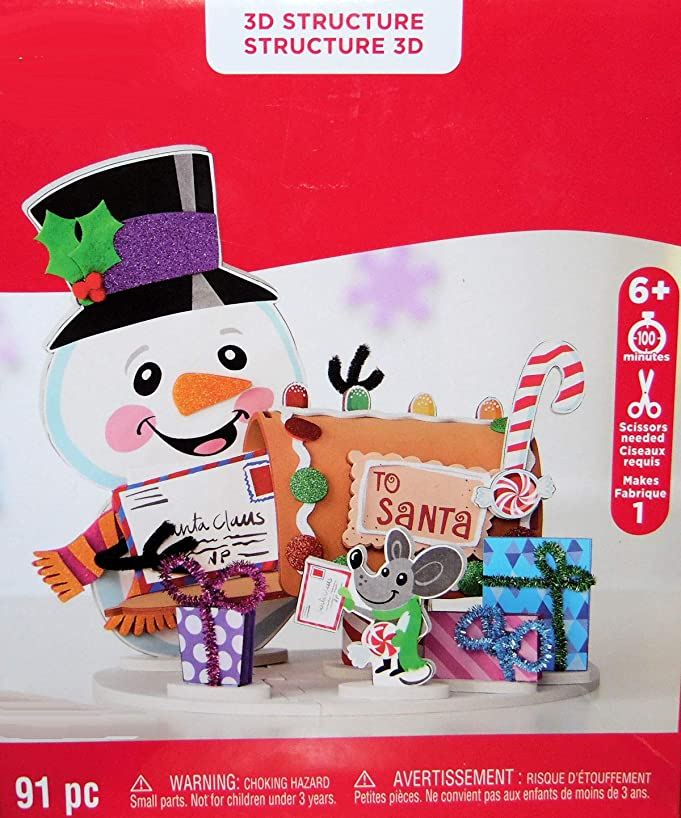 Christmas Snowman with Mouse and Presents Craft 3D Foam Kit - Centerpiece or Decoration - 91 Pieces