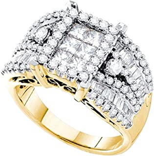 1.01 Carat (ctw) 14k Round, Princess & Baguette Diamond Cluster Bridal Right Hand Ring 1 CT, Yellow Gold