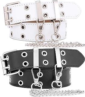 Goth Punk Studded Waist Belt Leather Trimmer Pin Buckle Holes Wide Waistband