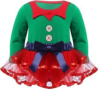 inhzoy Neugeborenes Baby Mächen Weihnachtself Outfit Langarm Strampler Tutu Weihnachtskleid Kleinkinder Erstes 1. Christmas Party Fotoshooting Bekleidung