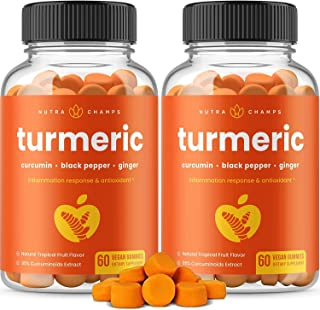 (2-Pack) 120 Turmeric Gummies with Ginger & Black Pepper Extract - Curcumin Gummy Supplement for Adults & Kids [95% Curcum...