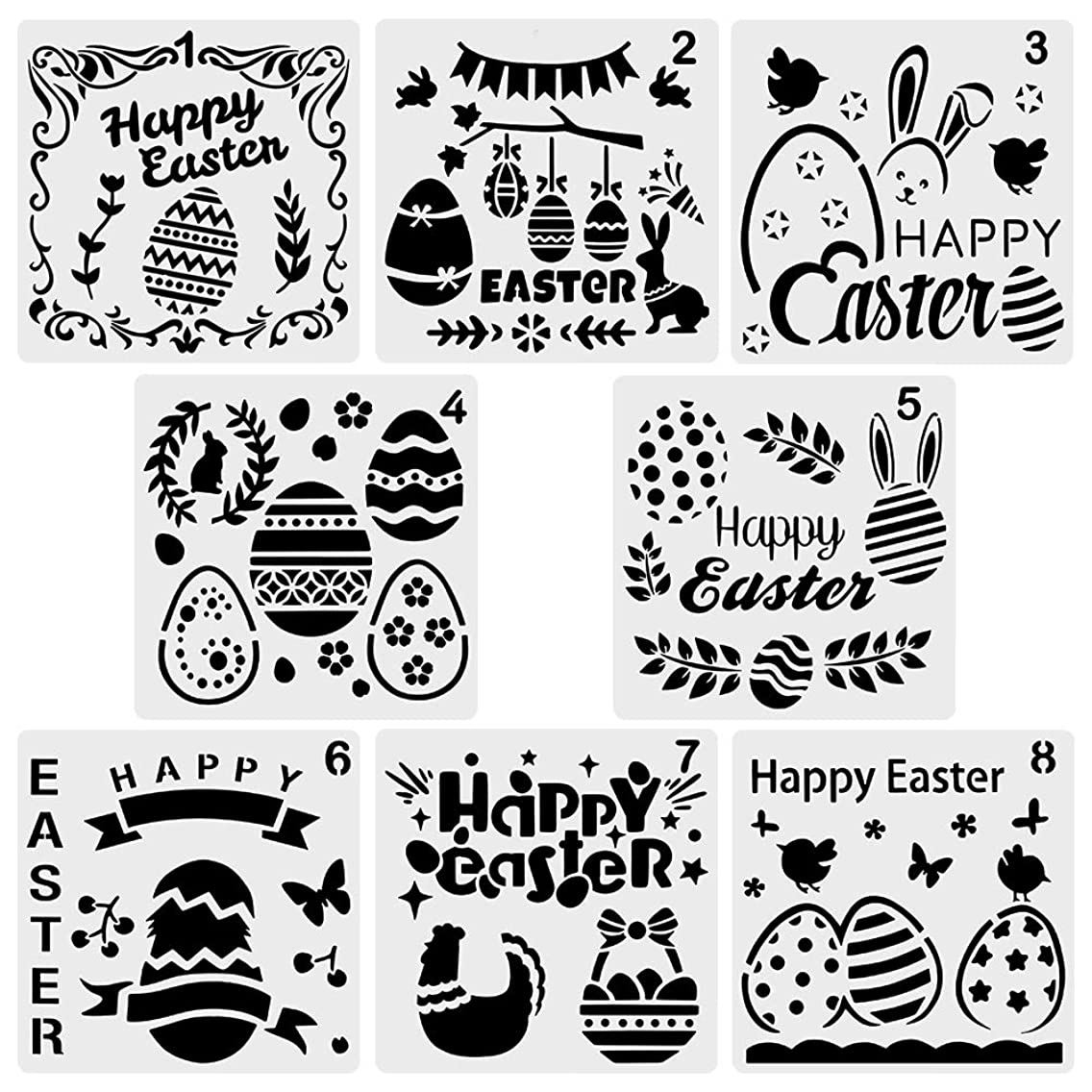 URlighting 8 Pcs Happy Easter Stencils - Plastic Easter Painting Stencils Template (5 × 5 inches), Egg Bunny Rabbit Flower Pattern Style for DIY Craft Notebook Diary Scrapbooking Cards Making