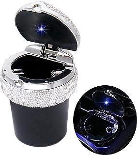Bling Auto Aschenbecher, Bling Tragbare Zigarette Rauchloser Zylinderbecherhalter mit blauer LED Lichtanzeige, Autozubehör für Frauen, Ideal für Auto, Heim und Büro, Schwarz.
