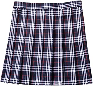 Petalum Girls Women School Uniforms Plaid Pleated Mini Skirt Daily Casual