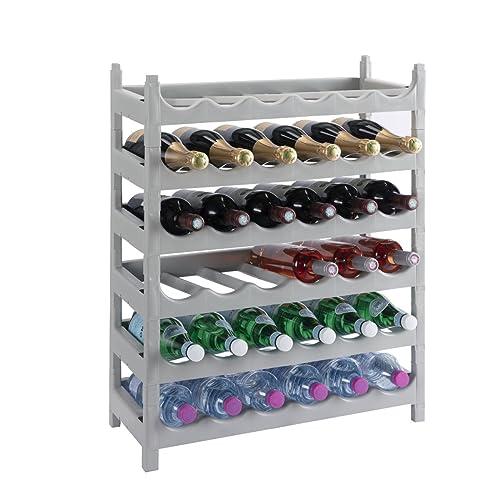 Wedestock Etagère à Bouteille, casier à Bouteille modulable Plastique 36 Bouteilles Coloris Gris