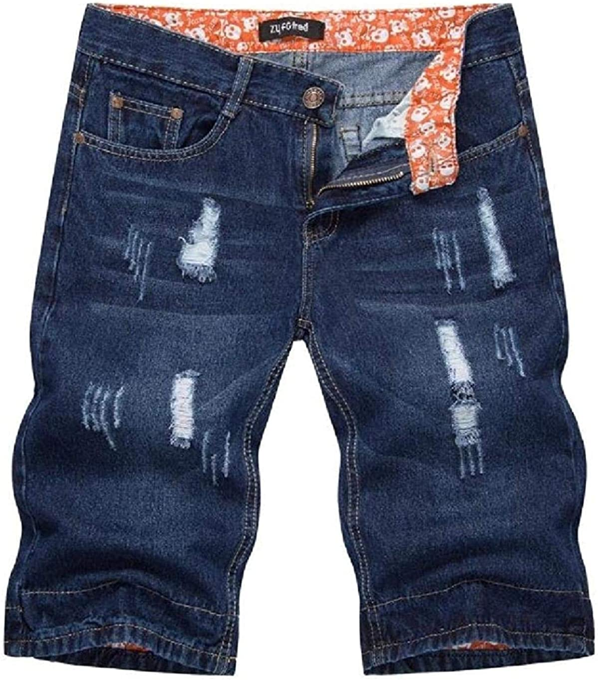JNBGYAPS Men Ripped Straight Stretchy Slim Fit Casual Hole Denim Shorts