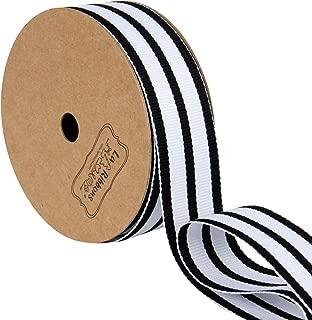 LaRibbons Black and White Sparse Stripes Grosgrain Ribbon/Gift Wrap Ribbon, 1 Inch by 10 Yard/Spool