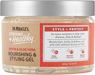 Dr. Miracle's Strong & Healthy Nourishing & Styling Gel. Contains Aloe Vera and Olive Oil to moisturize hair and reduce ir...