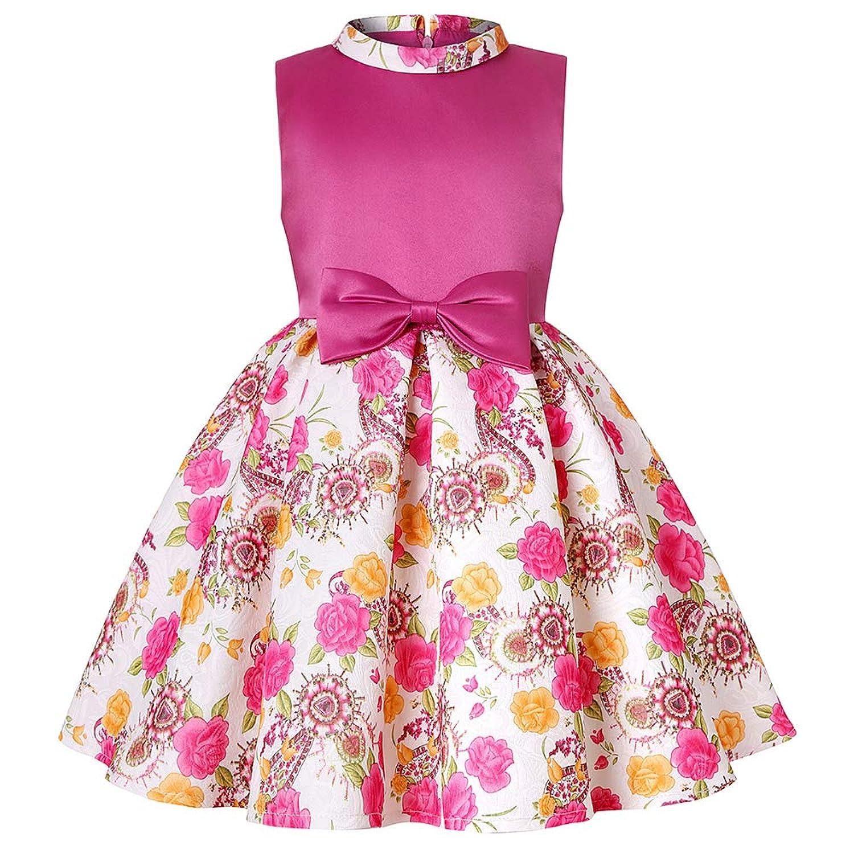 ガールズドレス 女の子ドレス ワンピース 蝶結びリボン お宮参り 入園式 結婚式 七五三 卒業式 花柄プリント