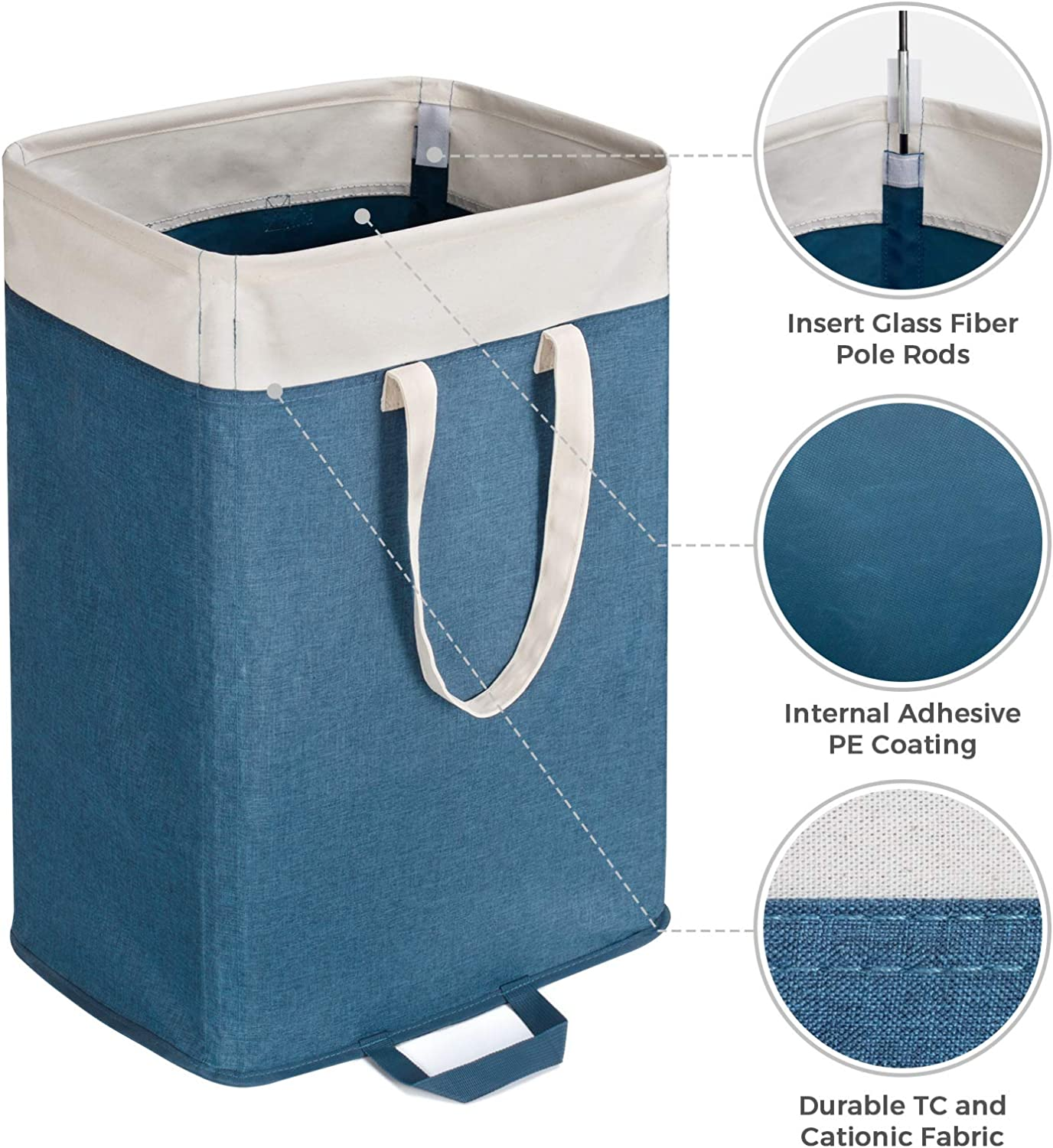 Blue Lifewit Laundry Basket with 2 Removable Laundry Bags Large Collapsible Dirty Clothes Hamper with Handles Built in Lining with Detachable Brackets Toys and Clothing Organization Storage Basket