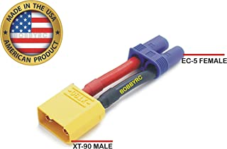 Bobbyrc XT90 Male To EC5 Female Conversion Adapter for RC ESC / LiPo Battery