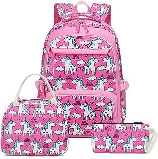 School Backpacks Girls Bookbag Cute Kids Schoolbag Elementary Lunch bag and Pencil case (Rosy)