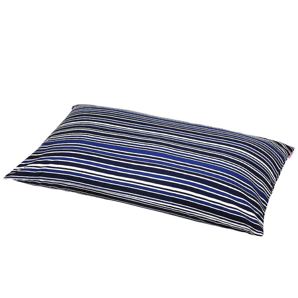 消毒剤社会主義利得枕カバー 60×100cmの枕用 トリノストライプ綿100% ファスナー式 パイピング仕上げ 日本製 枕 綿 ブルー